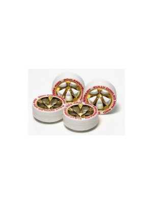 Tamiya 95076 Fully Cowled Mini 4WD 20th Anniversary White Tire & Gold Plating Wheel 4950344950768