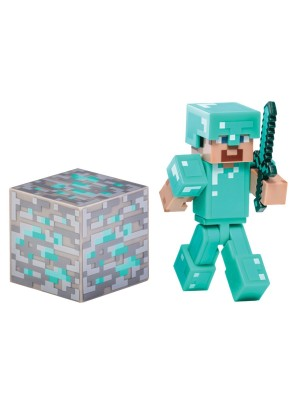Minecraft Overworld Steve With Diamono Armor Action Figure Set